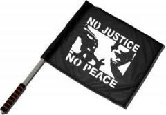 "Zum/zur  Fahne / Flagge (ca. 40x35cm) ""No Justice - No Peace"" für 11,00 € gehen."