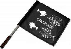 """Zum/zur  Fahne / Flagge (ca. 40x35cm) """"Organize! Fische"""" für 11,00 € gehen."""