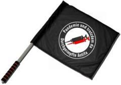 """Zum/zur  Fahne / Flagge (ca. 40x35cm) """"Pandemie und trotzdem da - Durchgeimpfte Antifa"""" für 11,00 € gehen."""