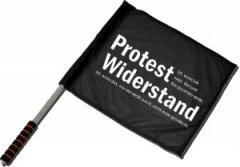 """Zum/zur  Fahne / Flagge (ca. 40x35cm) """"Protest ist, wenn ich sage, das und das passt mir nicht. Widerstand ist, wenn das, was mir nicht passt, nicht mehr geschieht."""" für 11,00 € gehen."""