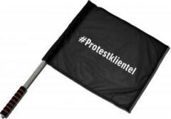 """Zum/zur  Fahne / Flagge (ca 40x35cm) """"#Protestklientel"""" für 11,00 € gehen."""