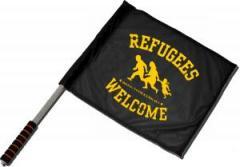 """Zum/zur  Fahne / Flagge (ca. 40x35cm) """"Refugees welcome"""" für 11,00 € gehen."""