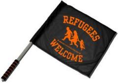 """Zum/zur  Fahne / Flagge (ca. 40x35cm) """"Refugees welcome (bring your families)"""" für 11,00 € gehen."""