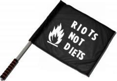 """Zum/zur  Fahne / Flagge (ca 40x35cm) """"Riots not diets"""" für 11,00 € gehen."""