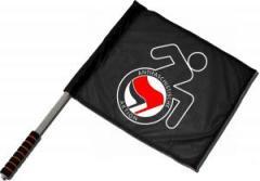"""Zum/zur  Fahne / Flagge (ca. 40x35cm) """"RollifahrerIn Antifaschistische Aktion (rot/schwarz)"""" für 10,72 € gehen."""