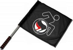 """Zum/zur  Fahne / Flagge (ca 40x35cm) """"RollifahrerIn Antifaschistische Aktion (schwarz/rot)"""" für 11,00 € gehen."""