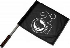 """Zum/zur  Fahne / Flagge (ca 40x35cm) """"RollifahrerIn Antifaschistische Aktion (schwarz/schwarz)"""" für 11,00 € gehen."""