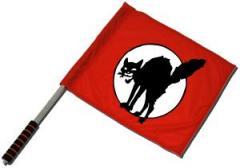 """Zum/zur  Fahne / Flagge (ca. 40x35cm) """"Schwarze Katze (mit Kreis)"""" für 11,00 € gehen."""