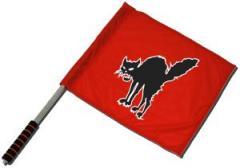 """Zum/zur  Fahne / Flagge (ca. 40x35cm) """"Schwarze Katze (rot)"""" für 11,00 € gehen."""