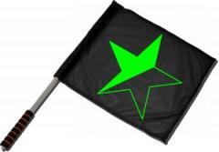 """Zum/zur  Fahne / Flagge (ca 40x35cm) """"Schwarz/grüner Stern"""" für 11,00 € gehen."""