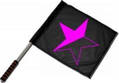 """Zum/zur  Fahne / Flagge (ca. 40x35cm) """"schwarz/pinker Stern"""" für 11,00 € gehen."""