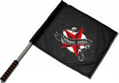 """Zum/zur  Fahne / Flagge (ca 40x35cm) """"Siempre Antifascista"""" für 11,00 € gehen."""
