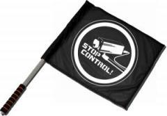 """Zum/zur  Fahne / Flagge (ca. 40x35cm) """"Stop Control Kamera"""" für 11,00 € gehen."""