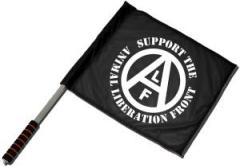 """Zum/zur  Fahne / Flagge (ca. 40x35cm) """"support the Animal Liberation Front (schwarz)"""" für 10,72 € gehen."""
