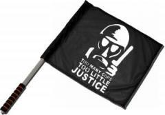 """Zum/zur  Fahne / Flagge (ca 40x35cm) """"Too many Cops - Too little Justice"""" für 11,00 € gehen."""