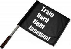"""Zum/zur  Fahne / Flagge (ca. 40x35cm) """"Train hard fight fascism !"""" für 11,00 € gehen."""