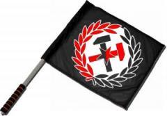 """Zum/zur  Fahne / Flagge (ca 40x35cm) """"Working Class Hammer (rot/schwarz)"""" für 11,00 € gehen."""