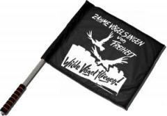 """Zum/zur  Fahne / Flagge (ca. 40x35cm) """"Zahme Vögel singen von Freiheit. Wilde Vögel fliegen!"""" für 11,00 € gehen."""