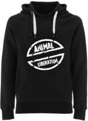 """Zum Fairtrade Pullover """"Animal Liberation"""" für 40,00 € gehen."""