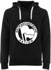 """Zum Fairtrade Pullover """"Antifaschistische Aktion (Original von 1932 in weiß)"""" für 40,00 € gehen."""