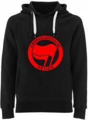"""Zum Fairtrade Pullover """"Antifaschistische Aktion (rot/rot)"""" für 38,99 € gehen."""