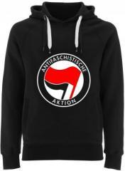 """Zum Fairtrade Pullover """"Antifaschistische Aktion (rot/schwarz)"""" für 40,00 € gehen."""