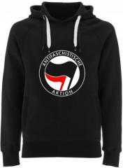 """Zum Fairtrade Pullover """"Antifaschistische Aktion (schwarz/rot)"""" für 40,00 € gehen."""