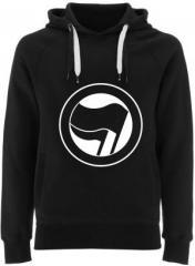 """Zum Fairtrade Pullover """"Antifaschistische Aktion (schwarz/schwarz) ohne Schrift"""" für 40,00 € gehen."""