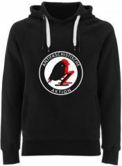 """Zum Fairtrade Pullover """"Antifaschistische Aktion - Vögel"""" für 40,00 € gehen."""