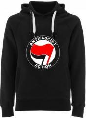 """Zum Fairtrade Pullover """"Antifascist Action (rot/schwarz)"""" für 38,99 € gehen."""