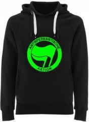 """Zum Fairtrade Pullover """"Antispeziesistische Aktion (grün/grün)"""" für 38,99 € gehen."""
