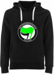 """Zum Fairtrade Pullover """"Antispeziesistische Aktion (grün/schwarz)"""" für 40,00 € gehen."""