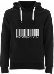 """Zum Fairtrade Pullover """"Barcode - Never conform"""" für 38,99 € gehen."""