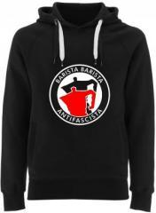 """Zum Fairtrade Pullover """"Barista Barista Antifascista (Moka)"""" für 40,00 € gehen."""