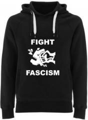 """Zum Fairtrade Pullover """"Fight Fascism"""" für 38,99 € gehen."""