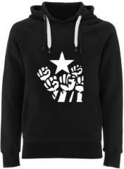 """Zum Fairtrade Pullover """"Fist and Star"""" für 40,00 € gehen."""