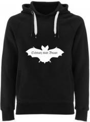 """Zum Fairtrade Pullover """"Fledermaus - schwarz statt braun"""" für 40,00 € gehen."""