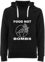 """Zum Fairtrade Pullover """"Food Not Bombs"""" für 40,00 € gehen."""