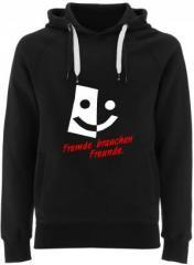 """Zum Fairtrade Pullover """"Fremde brauchen Freunde"""" für 40,00 € gehen."""
