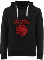 """Zum Fairtrade Pullover """"Halt's Maul Deutschland"""" für 40,00 € gehen."""