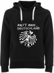"""Zum Fairtrade Pullover """"Halt's Maul Deutschland (weiß)"""" für 40,00 € gehen."""