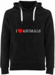 """Zum Fairtrade Pullover """"I love Animals"""" für 40,00 € gehen."""