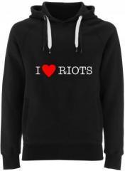 """Zum Fairtrade Pullover """"I love Riots"""" für 40,00 € gehen."""