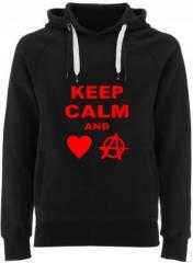 """Zum Fairtrade Pullover """"Keep calm and love anarchy"""" für 40,00 € gehen."""