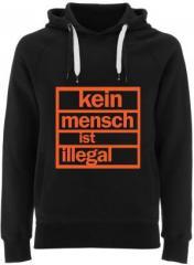"""Zum Fairtrade Pullover """"Kein Mensch ist illegal (orange)"""" für 38,99 € gehen."""