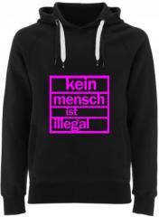 """Zum Fairtrade Pullover """"Kein Mensch ist illegal (pink)"""" für 38,99 € gehen."""