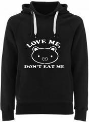"""Zum Fairtrade Pullover """"Love Me - Don't Eat Me"""" für 40,00 € gehen."""
