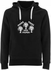 """Zum Fairtrade Pullover """"More Trees - Less Paper"""" für 40,00 € gehen."""