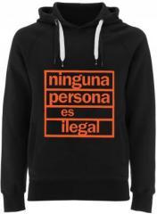 """Zum Fairtrade Pullover """"ninguna persona es ilegal"""" für 38,99 € gehen."""