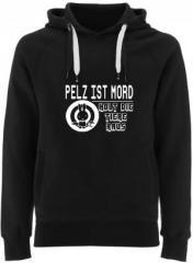 """Zum Fairtrade Pullover """"Pelz ist Mord"""" für 40,00 € gehen."""